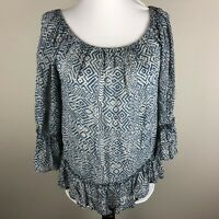 Lucky Brand Women's 3/4 Sleeve Top Blouse Size S Dusty Blue Cream Lined