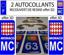 2 STICKERS RECOUVERT DE RESINE MC PRINCIPAUTE DE MONACO PLAQUE IMMATRICULATION