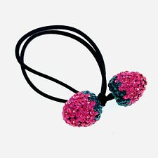 Strawberry Hair Rope Wrap use Swarovski Crystal Hairpin Ponytail Holder  PINK  01 db2a3275efe
