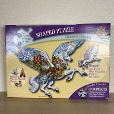 2 Puzzles MasterPieces Unicorn Fantasy Shaped Jigsaw Puzzle 1000 +200 Piece Rare