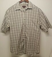 Wolverine Men's Brown & White Plaid Button Front Casual SS Shirt Size Large