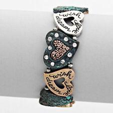 Bracelet Stretch Patina Heart Link Love Wish Dream Crystal Fashion Jewelry