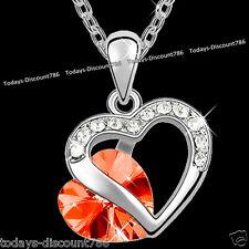 Rojo Lily Cristal Corazón Collar Amor niña esposa de Mujer Navidad Regalo