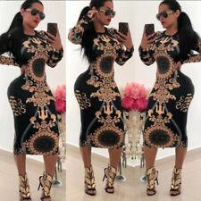 Fashion Womens Long Sleeve Print Bodycon Clubwear Cocktail Party Sexy Mini Dress