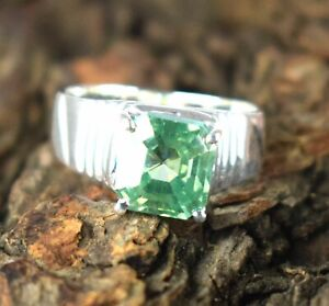 Green Diamond 4.77 Ct Solitaire Men's Silver Ring Ideal Gift For Husband