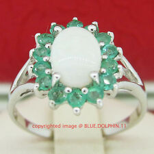 Natural Emerald Sterling Silver Fine Rings