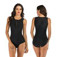 Women Surf Swim Sexy Zip Front One Piece Swimsuit Sleeveless Rash Guard Swimwear