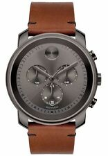 New Movado Bold Swiss Chronograph Rustic Brown Leather Strap Men's Watch 3600367
