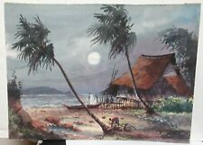 A.J. RAHMAN PHILIPPINE VILLAGE AT NIGHT ORIGINAL WATERCOLOR LANDSCAPE PAINTING