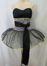 Curtain Call Costumes Womens Size 10A Black & Gold Leotard Tutu
