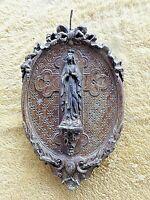 Ancien cadre médaillon-Vierge Marie du Puy-en-Velay XVIII ème-bois noyer et stuc
