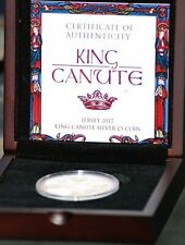 2017 Jersey King Canute silver proof £5 coin. COA/Box