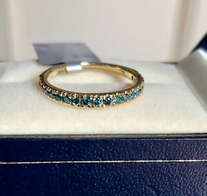 1/3CT GENUINE BLUE DIAMOND RING YELLOW GOLD SIZE L 1/2 'CERTIFIED' FAB COLOUR!