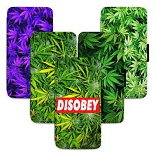 High Designs Weed Leaf Flip Phone Case Cover Wallet - Fits Iphone 5 6 7 8 X 11
