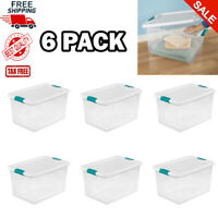 Plastic Storage Bins With Lids Large Tote Latching Stackable Clear 6 Pack 64 Qt