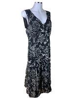 Sportscraft Size 14 Black & Biege Floral  Fit N Flare Midi Dress Polyester