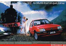 PUBLICITE ADVERTISING 035  1986  PEUGEOT 205  GT     SACRE NUMERO ( 2p)