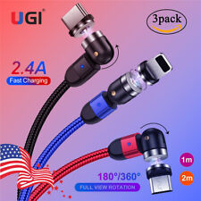 3 Pack Micro USB C Android Magnetic 2.4A Fast Charger Cable For iPhone X Samsung