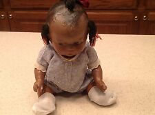 Vintage Black Americana Composition Girl Doll  With Outfit Painted Feature