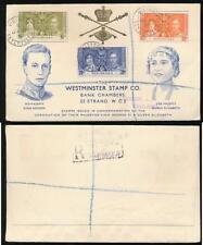 SEYCHELLES 1937 CORONATION ILLUSTRATED WESTMINSTER ENVELOPE REGISTERED HS