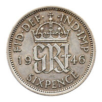 KM# 852 - Sixpence - 6d - Silver (.500) - George VI - Great Britain 1946 (VF)