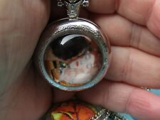 Klimt Kiss art necklace pendant pocket watch silver tone