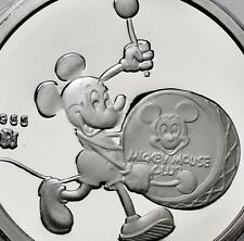 DISNEY MICKEY Play Drum 60TH YEARS WITH YOU 1 OZ .999 SILVER COIN Round coa case