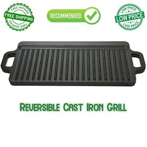 Cast Iron Reversible Grill Griddle Pan Hamburger Steak Stove Top Fry, 16.5x9 in