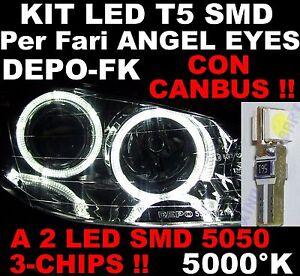 10 LED T5 5000°K BIANCHI ANGEL EYES CANBUS fari FK DEPO