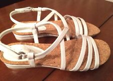 Kim Rogers White Patent Leather Low Wedge Sandals Dyna Womens Sz 9 M New
