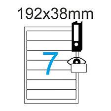 35 Ordnerrücken 192 x 38 mm Etiketten Weiß selbstklebend kurz schmal Blickdicht