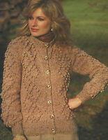 """Ladies Aran Cardigan Knitting Pattern with Bobble design 32-40""""  604"""
