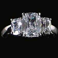 3-STONE  BRILLIANT CUT CZ Cocktail / Engagement Ring _ Size-6_NF_925 SILVER