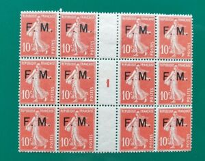 FRANCE MILITARY POSTAGE 1907 MINT 10c ROUGE BLOCK OF 12 INC MILLESIME 1 FOR 1911