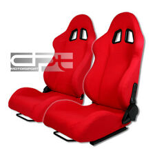 X2 DRIVER/PASSENGER JDM RED CLOTH BUCKET RECLINABLE RACING SEATS W/SILDERS