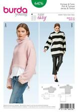 BURDA SEWING PATTERN MISSSES' SUPER EASY PULLOVER TOP KNIT SIZE 6 - 18 6476