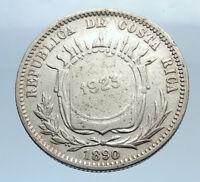 1923 COSTA RICA Counterstamped Wreath Genuine Silver 50 Centimos Coin i74090