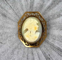 Vintage Antique Shell  Cameo in  14Kt gold filled  Metal  - Pin  -- 1940s