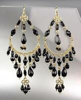 GORGEOUS Urban Artisanal Black Onyx Crystals Gold Chandelier Earrings 0192