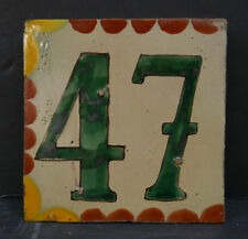 Mexican Vintage House Number Tile 47 Green