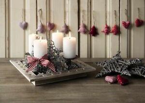 WESTWING Kerzentablett Weihnachten Kerzenständer Dekoration Sterne Holz Advent