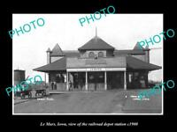 OLD LARGE HISTORIC PHOTO OF LE MARS IOWA, THE RAILROAD DEPOT STATION c1900
