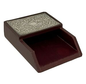 Carrs Of Sheffield Sterling Silver & England Fine Leather Note Paper Tray Holder