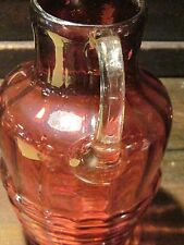 Cranberry glass pitcher with applied handle blown pontil 8 inches