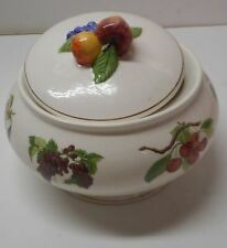 Teleflora Gift Ceramic White Fruit Covered Pedestal Bowl With Gold Trim