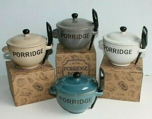 Glazed Stoneware Porridge Bowl with Lid & Spoon in Presentation Box
