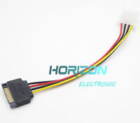 2PCS SATA 15-pin Male Power Cable to Molex IDE 4-pin Female Power Drive Adapter