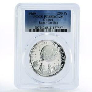 Guinea 250 francs Lunar Landing Space Astronaut PR68 PCGS silver coin 1969