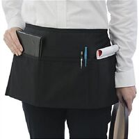 2 new waitress waiter server 3 pocket waist apron, black 100% commercial grade!