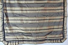 "J.QUEEN New York European 24"" sq PILLOW SHAM BROWN TAUPE Satin Striped Velvet"